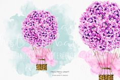 Hot Air Balloon ClipArt Watercolor Lilac Flowers от froufroucraft