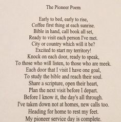 "Another pinner said ""The Pioneer Poem. I wrote this for a friend who was starting to pioneer for the first time ~ Heather Ochoa Jw Pioneer, Pioneer Gifts, Pioneer School Gifts Jw, Jw Ministry, Jw Humor, Spiritual Encouragement, Spiritual Poems, Jw Gifts, Bible Truth"