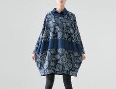 Blue Flower Retro Dress Cotton Linen Shirt Dress Loose Fit Shirt Long Sleeve Autumn Dress Patchwork Lantern Clothes Size L/XL/XXL