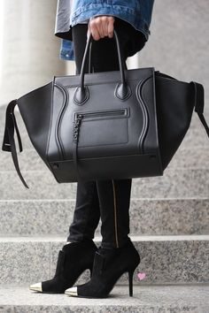 celine navy leather handbag luggage phantom