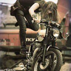 This is what I looked like with my very first motorcycle (that old Virago was a PITA to kick start! Lady Biker, Biker Girl, Triumph Motorcycles, Vintage Motorcycles, Moto Vespa, Harley Davidson, Chicks On Bikes, Cafe Racer Girl, Bobber Motorcycle
