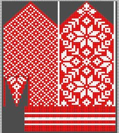 Diagram inspired by Selbuvotter by Clara Falk Knitted Mittens Pattern, Fair Isle Knitting Patterns, Crochet Mittens, Knitting Charts, Knitting Stitches, Diy Crochet, Knitting Designs, Knitting Yarn, Hand Knitting