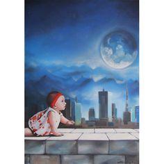 GaeTano & Valentina, SELENE, ©2014, acrylic on canvas, 70 x 100 x 4 cm / 27.5 x 39.4 x 1.57 inch  #SCENOGRAPH2ART #GaeTanoAndValentina #Sem #scenographTwoArt #painting #FineArt #Arte #فن #Kunst #艺术 #AcrylicOnCanvas #искусство #acrylic #アート #pittura #peinture #GaeTanoeValentina #azzurro #Blu #Ceruleo #ScenographTwoArt #BlueReal #sky #blue #child #city #goddess #landscape #moon #moonlight #mountains #night