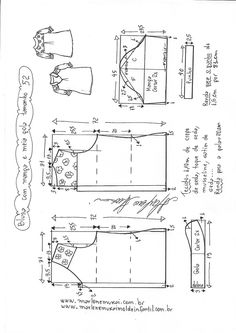 Sewing Blusas Blusa manga fofa e meia gola T Shirt Sewing Pattern, Shirt Dress Pattern, Dress Sewing Patterns, Sewing Patterns Free, Free Sewing, Clothing Patterns, Blouse Patterns, Sewing Blouses, Sewing Shirts