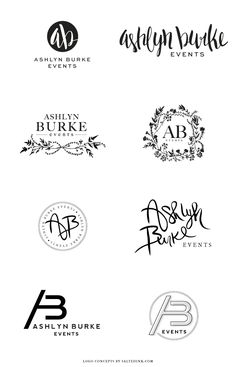 number 6 is a nice variation   I like the round version of no. 5 and no. 6 Ashlyn Burke Events Brand Design by Salted Ink
