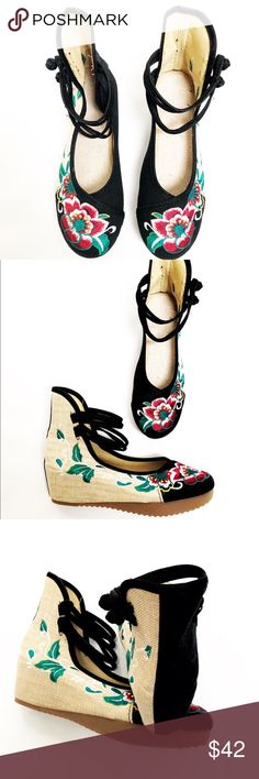 👠SALE! Was $46, NWT Embroidered Short Wedge Shoes These fabulous colorful embroidered shoes are sure to turn heads, they feature a short rubber wedge, embroidered fabric upper, two ankle straps with double knot closures, a truly unique shoe, medium width true to size 8. Shoes