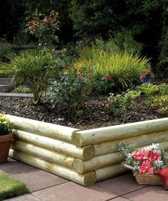 12 Simple Raised Garden Projects You Should Try Garden Post Log Cabin Style Raised Garden Wall Raised Bed Garden Design, Building A Raised Garden, Benefits Of Gardening, Raised Flower Beds, Raised Beds, Easy Garden, Garden Edging, Gravel Garden, Garden Planters