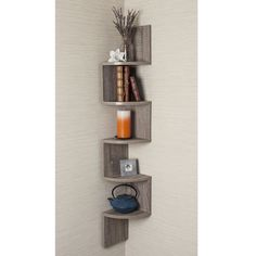 Danya B Rustic Weathered Oak Laminate Corner Wall Mount Shelf