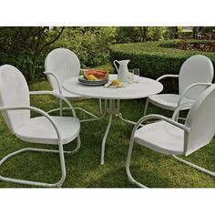 Griffith Metal Outdoor Dining Set — 5-Pc., White Chairs, Model# 2737 $350
