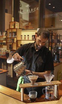 Aussie coffee at Flat Black on Franklin Street, Boston.