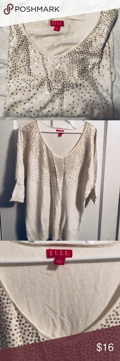 Vneck sweater Cream vneck sweater with gold sequins sewn onto front. 3/4 length sleeves. Perfect for a holiday party. Elle Sweaters V-Necks