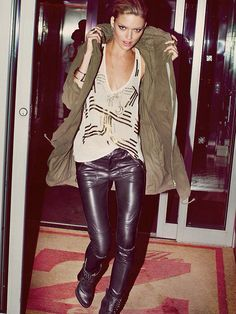 Street style leather trousers green parka