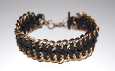 Bracelet inspired by $264 designer bracelet; faux leather cord + chain - JEWELRY AND TRINKETS