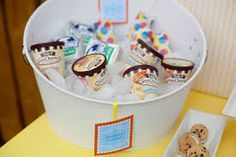 Ice cream sealed in small cans or plastic can be served chilled in a bucket full of ice.