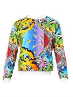 Rainbow and logo-print sweatshirt #sweater #cloudy #covetme #versus