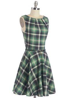 Luck Be a Lady Dress in Green Plaid   Mod Retro Vintage Dresses   ModCloth.com
