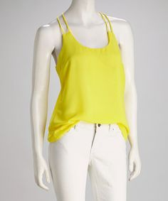Take a look at this Yellow Double-Strap Racerback Tank by Costa Blanca on #zulily today!