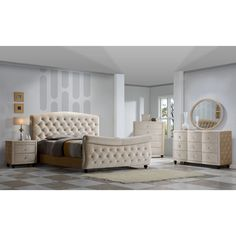 The Diamond Bedroom set is an impeccable example of truly memorable, opulent contemporary design. Your bedroom will be the height of dignified fashions with Golden Beige Velvet and top quality construction.