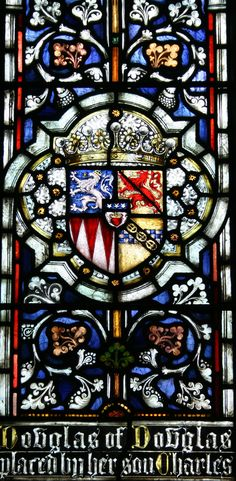 Coat of arms of Lucy Elizabeth Douglas of Douglas, Countess of Home. Wife of 12th Earl of Home. Detail from the window in the south wall.
