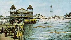 Coney Island Iron Pier built in Transporting Gilded Age era passengers from Manhattan, by steam boat to Coney Island crossing into the Amusement Park. Coney Island Amusement Park, Amusement Parks, Steam Boats, Brooklyn New York, Gilded Age, Beach Resorts, Rhode Island, Taj Mahal, Old Things
