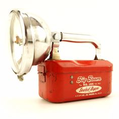 Vintage Big Beam No.166 Flashlight / Lantern in Red and Chrome (c.1950s)