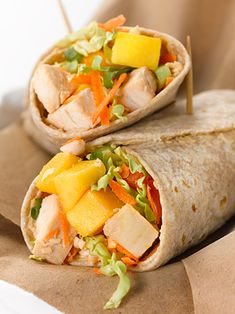 Asian Mango and Chicken Wraps - for a lactose-free version omit Cream Cheese or use Mustard
