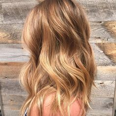 This beachy blonde simply glows with warm honey and golden tones. (Image by stylist Sarah Pelco.)
