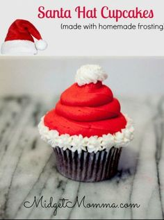 These Sanata hat cupcakes are easy to make, make with your favorite cake recipe and with Homemade Icing. They make a great Christmas Party Treat. These Santa Hat Chrimstas cupcakes are Christmas desserts that kids will love Holiday Desserts, Holiday Baking, Holiday Treats, Holiday Recipes, Holiday Cupcakes, Santa Cupcakes, Winter Cupcakes, Christmas Cupcakes Decoration, Christmas Recipes