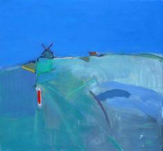 Ronald F Smith RSW Windmill and Stripes, Verzenay  oil on canvas  82 x 76 cm