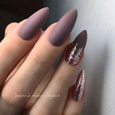 Beautiful Mauve Nails With Glitter Fade #almondnails #glitternails #mattenail #ombrenails ❤️ Great mauve color nails for the creation of beautiful manicures. It is time you combine dusty rose and purple shades into single nail art! ❤️ See more: https://naildesignsjournal.com/mauve-color-nails-ideas/ #naildesignsjournal #nails #nailart #naildesigns #mauvecolor #mauvenails