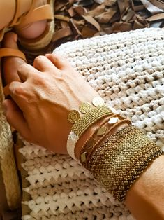 brown and gold macrame bracelets