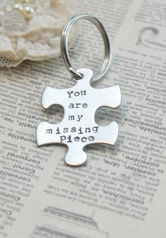 Puzzle Piece Keyring Hand Stamped You Are My Missing Piece