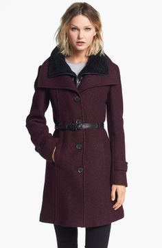 Soia & Kyo Wing Collar Coat with Genuine Shearling Inset