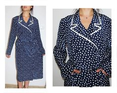 Twilight blue dress, navy blue, dress with collar, sapphire dress L XL vintage wool Navy Blue Dresses, Twilight, Wrap Dress, Trending Outfits, Belt, Sewing, Etsy, Vintage, Fashion