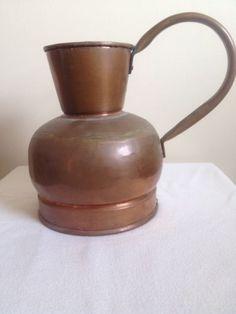 Antique Primitive Copper Pitcher Watering Can Jug Kitchen Garden Art Holland.