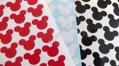 Mickey Vinyl Stickers 1 inch  40 Red 40 Black and 40 by ItzInZmail