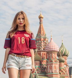 World Cup 2018 in Russia. So 18 is a magical number for Russian football. Lets start celebrating already by now with the Russian home shirt for the World Cup 2014 in Brazil. St. Basil's Cathedral on the Red Square in Moscow provides the backdrop with Liza to the foreground. Everything is set and ready to go both for 2014 and 2018. Davai Rossie!