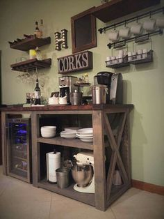 34 Interesting Diy Mini Coffee Bar Design Ideas For Your Home. If you are looking for Diy Mini Coffee Bar Design Ideas For Your Home, You come to the right place. Here are the Diy Mini Coffee Bar Des. Kitchen Decor, Bar Furniture, Coffee Bar Home, Decor, Bars For Home, Coffee Kitchen, Wine And Coffee Bar, Cozy House, Diy Bar