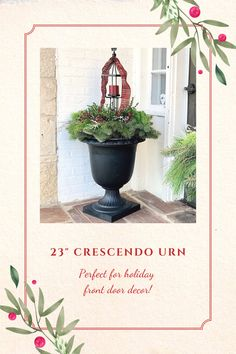 The elegant, timeless silhouette of the Crescendo Urn is perfect for traditional holiday planter designs! Winter greens pop with red winter berry, and support custom lanterns in this perfect holiday arrangement! Design and photo credit: Gretchen Hubbe of THRiVE Planters, Illinois. #holidayplanters #frontdoordecor #frontporchdecor #winterplanters Floors And More, Plant Health, Self Watering Planter, Outdoor Material, Recycled Rubber, Plant Needs, Front Door Decor, Water Plants, Outdoor Plants
