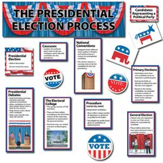 """The Presidential Election Mini Bulletin Board Set - for Grades 3-5. The detailed pieces in this mini bulletin board set make teaching the presidential election process easy. Set includes 28 interactive die-cut pieces, labels, a 21"""" x 6"""" title, and an insert guide with suggested activities. Partial sets shown."""