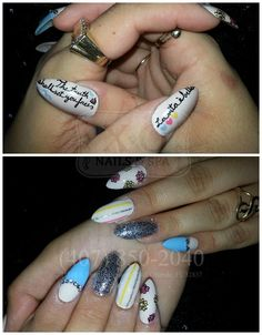 """Pinstripes, Flowers, Diamonds, and Handwritten Quotes Nail Design on Stiletto Nails / Pointy Nails.  """"The truth shall set you free""""  """"La vita è bella"""" (Life is beautiful)  Hand Painted / Written / Drawn Nail Art. NOT Stickers.  BY APPOINTMENT ONLY with Lucy. https://www.facebook.com/XONailsOrlando"""