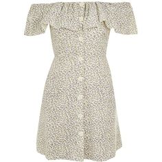 Topshop Ditsy Print Bardot Dress ($44) ❤ liked on Polyvore featuring dresses, topshop, vestidos, ivory, white colour dress, white dress, white ivory dress, topshop dresses and cotton dress