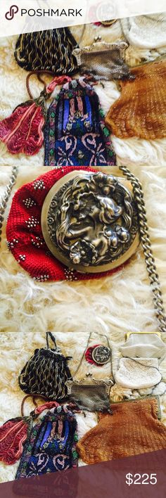 8 antique purses , beaded, German nickel, mesh 8 gorgeous antique bags. Beaded ones need owner who is good at sewing beads etc.  Some repairs so good eyesight. One German nickel and Victorian cap on red coin purse, later model white ones fine. Rare! Bags