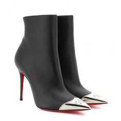 Godness Christian Louboutin - Calamijane 100 leather ankle boots #shoes #christianlouboutin #designer #covetme