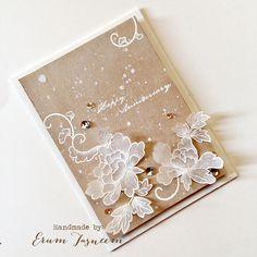 *VIBGYOR Krafts*: White and Kraft - Runway Inspired using Altenew's Peony Scrolls (Happy Anniversary card)