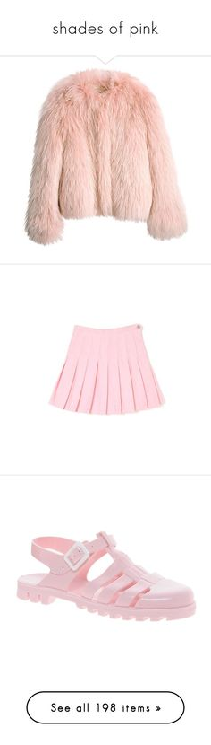 """""""shades of pink"""" by little-moon-light ❤ liked on Polyvore featuring outerwear, jackets, coats, tops, fur jacket, balenciaga jacket, pink fur jacket, balenciaga, pink jacket and skirts"""