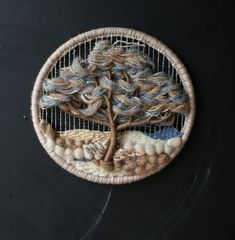 Round Tree Weaving Nature Landscape Natural From Nowvintage on Etsy Weaving Textiles, Weaving Art, Tapestry Weaving, Loom Weaving, Circular Weaving, Dorset Buttons, Weaving Wall Hanging, Weaving Projects, Tear
