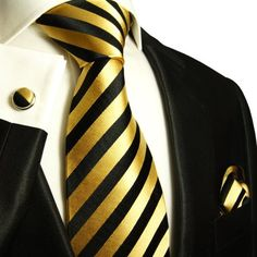 Paul Malone Extra Long Silk Necktie, Pocket Square and Cufflinks Gold Black  http://www.yourneckties.com/paul-malone-extra-long-silk-necktie-pocket-square-and-cufflinks-gold-black-3/