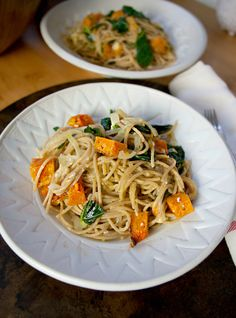 Creamy Pasta with Roasted Butternut Squash and Kale would have to remove onions and garlic :(