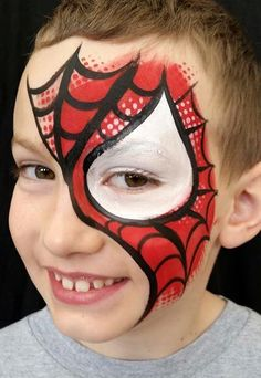 Simple face painting designs are not hard. Many people think that in order to have a great face painting creation, they have to use complex designs, rather then simple face painting designs. Superhero Face Painting, Face Painting For Boys, Body Painting, Easy Face Painting Designs, Face Painting Tutorials, Minnie Mouse Face Painting, Spiderman Face, Boy Face, Simple Face